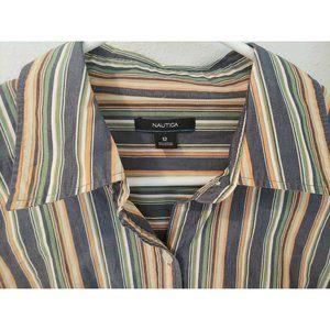 Nautica Striped Button Down Shirt Women's Size 12 Cotton Long Sleeve